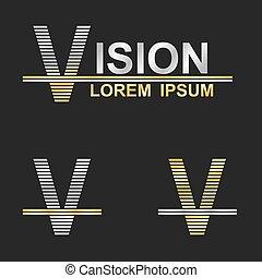 Metallic business symbol font design - letter V (vision)