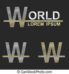 Metallic business symbol font design - letter W (world)
