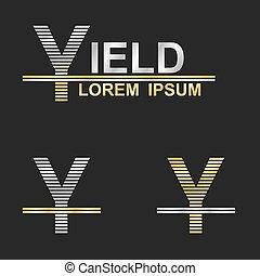 Metallic business symbol font design - letter Y (yield)