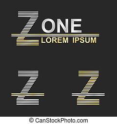 Metallic business symbol font design - letter Z (zone)