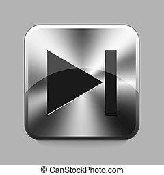 Next navigation symbol on metallic or chrome button illustration