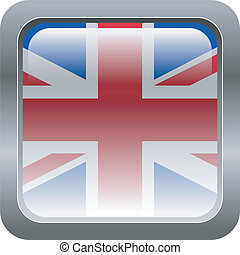 metallic button in colors of UK