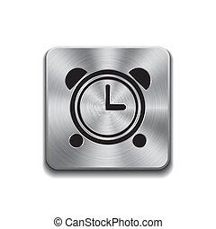 Metallic button with alarm clock icon