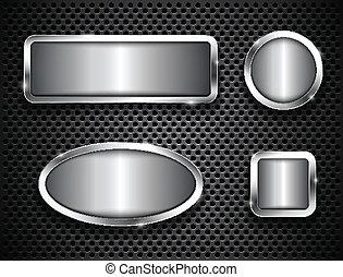Metallic buttons on textured background. Vector illustration