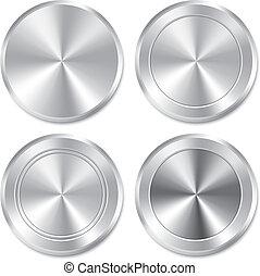 Metallic buttons template set. Realistic icons. - Metallic...