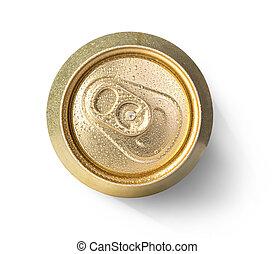metallic can on white