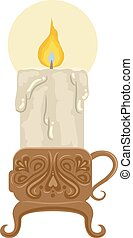 Illustration Featuring a Candle Holder with Intricate Carving Holding a Melting Candle