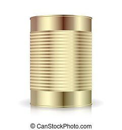 Metallic Cans Vector. Food Tincan Ribbed Metal Tin Can,...