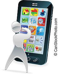 Metallic cartoon mascot character phone concept