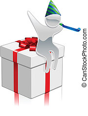 Metallic cartoon mascot gift concept