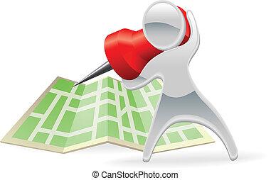Metallic cartoon mascot map pin concept - Metallic cartoon...