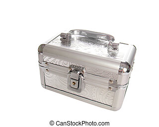 Metallic casket isolated over white
