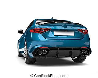 Metallic cerulean blue modern fast car - back view