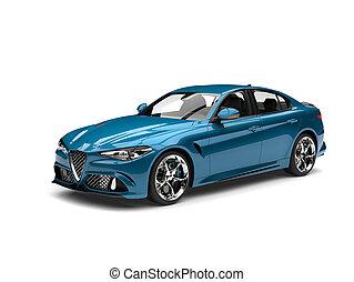 Metallic cerulean blue modern fast car