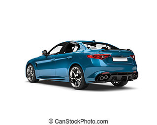 Metallic cerulean blue modern fast car - tail view