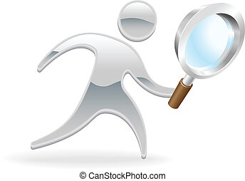 Metallic cartoon mascot character magnifying glass search concept