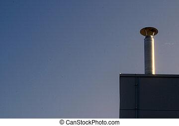 Metallic chimney - New metallic shimney on the factory roof