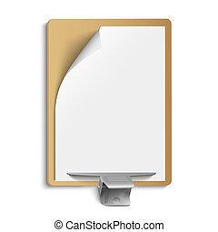 Metallic clamp on blank sheet of paper