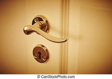 Metallic classic door knob on a white door. Open, closed