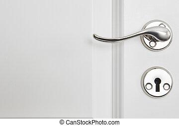 Metallic classic door knob on a white door. Open