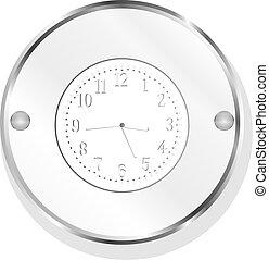 metallic clock icon design