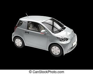 Metallic compact urban car on black background