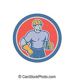 Metallic Construction Worker Thumbs Up Circle Retro