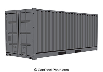 Graphic illustration of metallic container isolated over white background