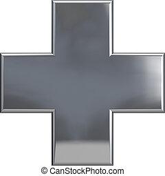 Metallic Cross Plus Symbol