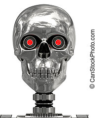 Metallic cyborg head with red eyes isolated on white. high resolution 3D image.