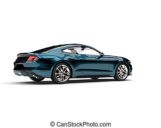 Metallic dark blue modern muscle car - tail view