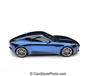 Metallic dark blue modern sports concept car - side view