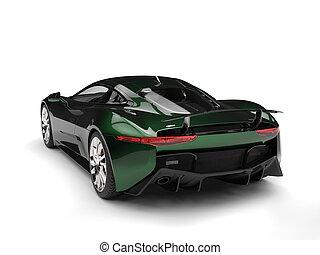 Metallic dark green elegant sports car - tail view