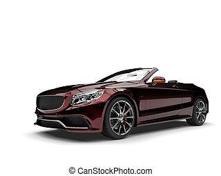 Metallic dark red modern luxury convertible car