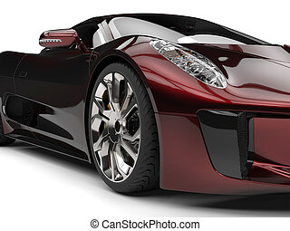 Metallic dark red super sports car - headlight closeup shot