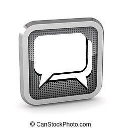 metallic dialog icon on a white background
