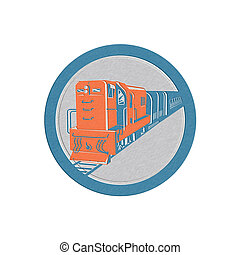 Metallic Diesel Train Circle Retro