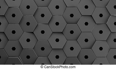 metallic displaces hexagons background.3d illustration render.