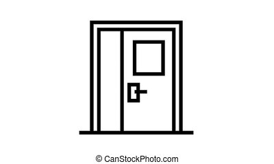 metallic door animated black icon. metallic door sign. isolated on white background