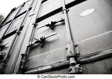 Metallic doors of transport container. High constast.