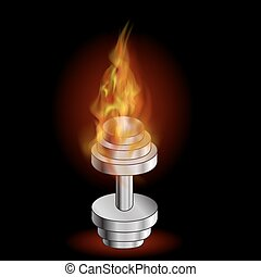 Metallic Dumbell and Fire Flame. Sport Fitness Background