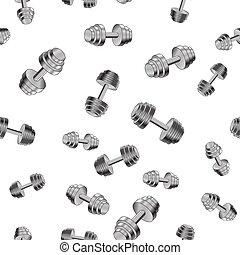 Metallic Dumbell Seamless Background. Sport Fitness Pattern