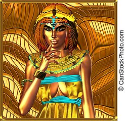 Metallic egyptian queen on abstract background Egypt On Her...