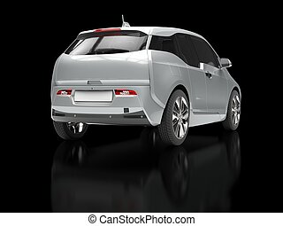 Metallic electric car - back view