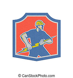 Metallic Electrician Holding Lightning Bolt Retro