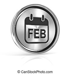 Metallic february calendar icon