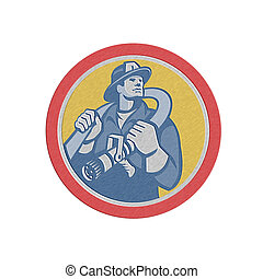 Metallic Fireman Firefighter Holding Fire Hose Retro