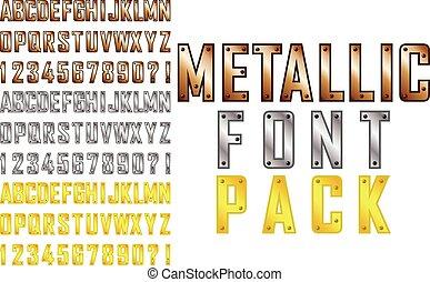Metallic font - Vector metallic steampunk style font pack