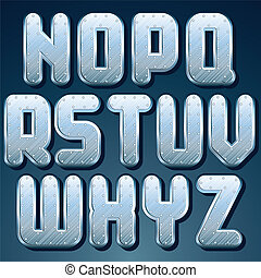 Metallic Font. Vector Set of Shiny Silver Letters