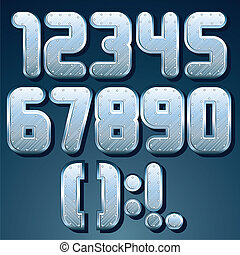Metallic Font. Vector Set of Shiny Silver Numbers
